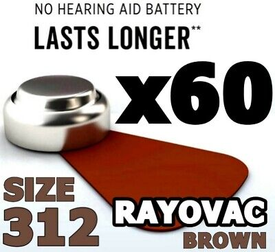 60 x Rayovac Size 312 Hearing Aid Batteries 1.45v BROWN PR41 Crystal Clear Plus