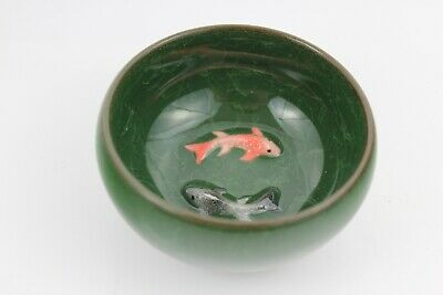 Chinese Ice-Crackle Porcelain Kung Fu Tea Cup/ Bowl Fish Pattern 8x4cm