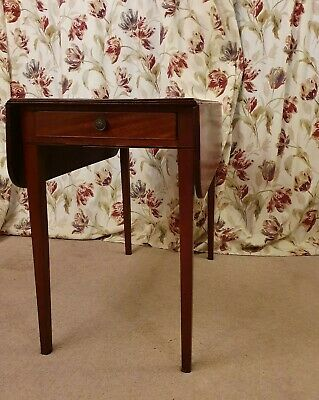Antique Pembroke Drop Leaf Inlaid Side Table with drawer