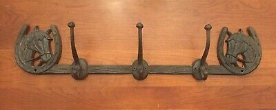 """CAST IRON Horse within Shoe With 3 hooks Rack Wall Mount Western Decor.  23"""""""