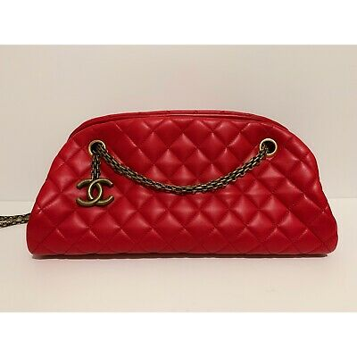 dda672d7da8c ❤ 😍Authentic CHANEL JUST MADEMOISELLE Red Soft Leather Medium 2way Quilted  Bag