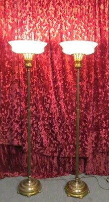 Old Pair Torchiere Lamps Ornate Height Adjust Floor Lights Original Glass Shades