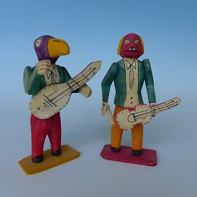 """Pair of vintage Mexican wood carved musicians dog bird Oaxaca 6 1/2"""" tall"""
