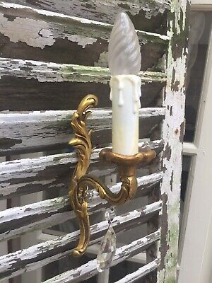 Vintage French wall Light Wall Sconce lovely shaped Glass drop Brass Frame