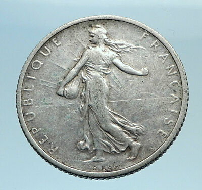 1917 FRANCE Antique Silver 1 Franc French Coin w La Semeuse Sower Woman i77695