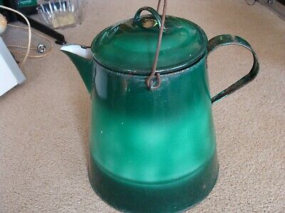 Vintage Green Enamel Cowboy Kettle Campfire Coffee Pot Extra Large Antique
