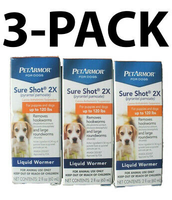 Petarmor Sure Shot 2X Liquid De-Wormer Puppies & Dogs, (3 Pack) 2 FL OZ Each