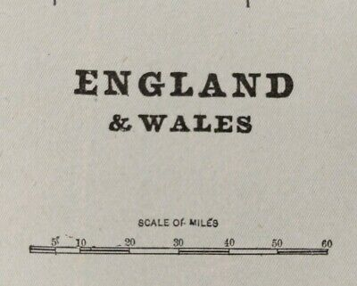 "ENGLAND WALES 1903 Vintage Atlas Map 11""x14"" ~ Old Antique LONDON CARDIFF MAPZ"