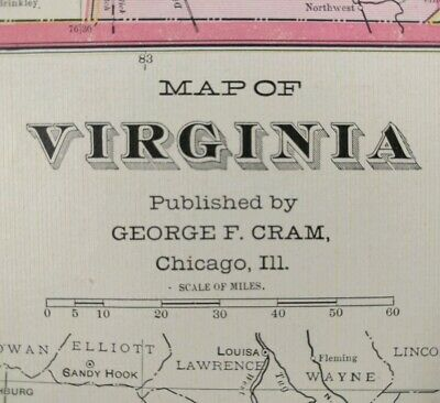 "VIRGINIA 1902 Vintage Atlas Map 22""x14"" ~ Old Antique NORFOLK CHESAPEAKE MAPZ"