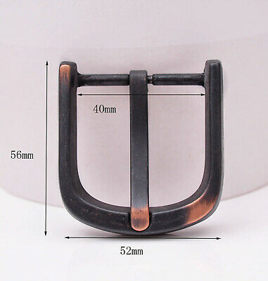 Men Quality Black Square Prong Single Pin Leather Belt Buckle Fit 40MM Strap
