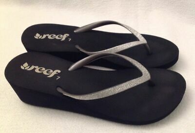 cc4de6e81e36 REEF Krystal Star Silver Glitter Wedge Flip Flops Sandals Women s SZ 10 NEW