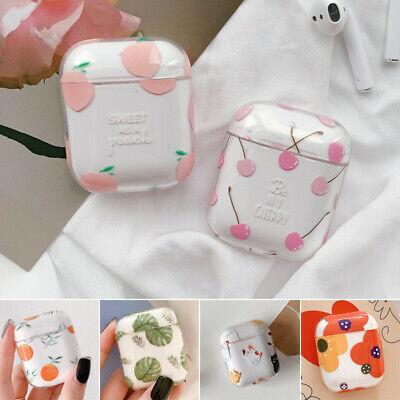 For Apple AirPods Charging Case Transparent Fruit Case Protective PC Cover Skin