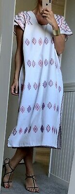 Handwoven White Mexican Huipil Kaftan Dress Pippa Holt Style
