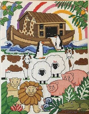 Noah's Ark Beautiful Brightly Colored Cross Stitch Completed Piece