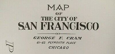"SAN FRANCISCO CALIFORNIA 1900 Vintage Atlas Map 22""x14"" Old Antique OAKLAND MAPZ"