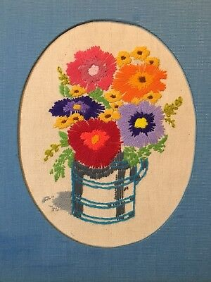 Bright Flowers in a Cup Completed Crewel Embroidery, Matted