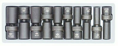Sunex 2659 9-piece 1/2 In. Drive Universal Deep Fractional Sae Impact Socket Set