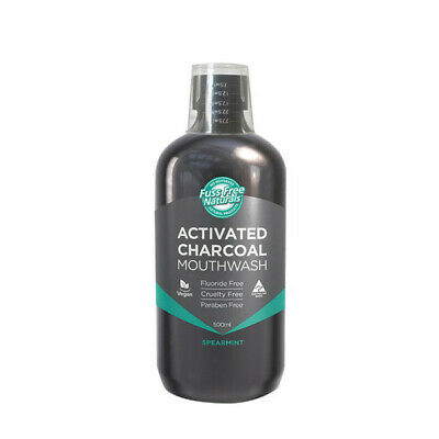 3 x 500ml Essenzza Fuss Free Naturals Mouthwash Activated Charcoal Spearmint