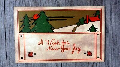 Vintage Arts and Crafts New Year's Postcard #1