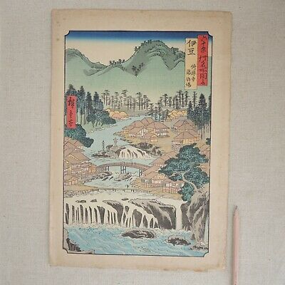 Vintage Woodblock After Utagawa Hiroshige Hot Springs Shuzen Temple Izu Province