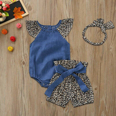 3PCS Baby Girls Denim Jumpsuit Romper+Leopard Print Shorts+Headband Outfits