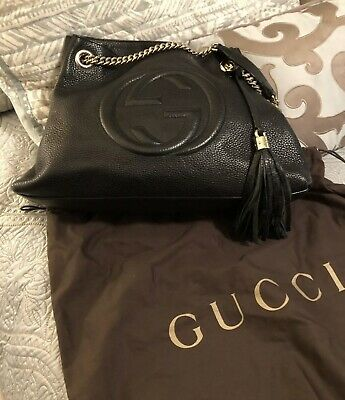 f146a240278 GUCCI SOHO BLACK Leather Chain-Strap Tote Red Shoulder Bag -  800.00 ...