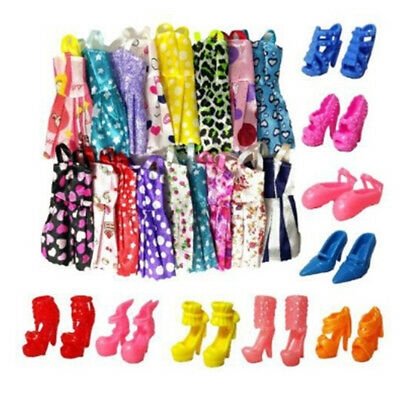 10xHandmade Dress Doll Clothes + 10xShoes High Heels For  Doll Kid Toy  WL
