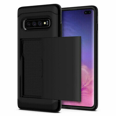 For Samsung S10e S10+ Hard Hybrid Armor Case Cover With Slide Card Slot Holder