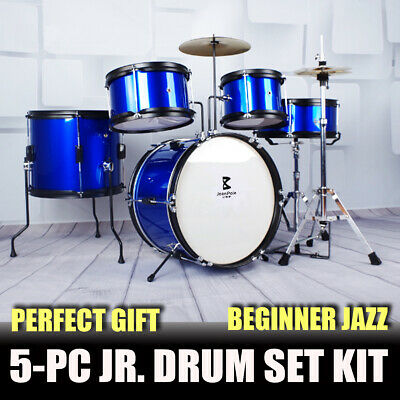 5 Piece Drum Kit Full Size Complete Set Cymbals Stool Blue Jeanpole Drums