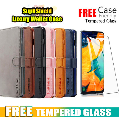 Samsung Galaxy A20 A30 A50 A70 Velvet Wallet Case Flip Card Slots Classic Cover