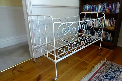Vintage French Metal Childs Cot or Day-Bed