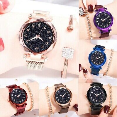 Starry Sky Luminous Numbers Watch Magnet Stainless Steel Strap Free Buckle Women