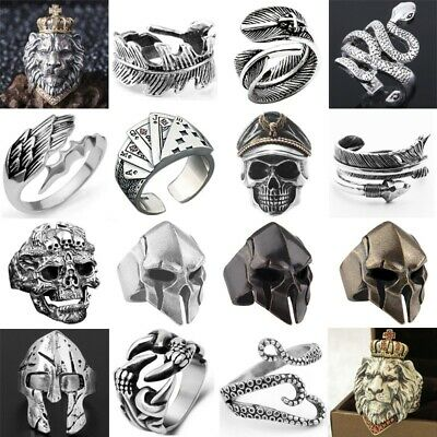 Punk Rings Resizable Stainless Steel Alloy Biker Vintage Gothic Men Woman Band
