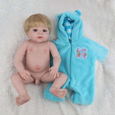 "23"" Reborn Dolls Baby Boy Full Body Silicone Lifelike Newborn Gift Doll +Clothes"