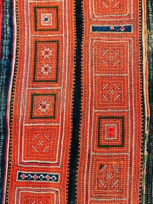 Antique Hmong Chinese Tribal Embroidery Textile Paj Ntaub Bedcover/Throw, Tribal