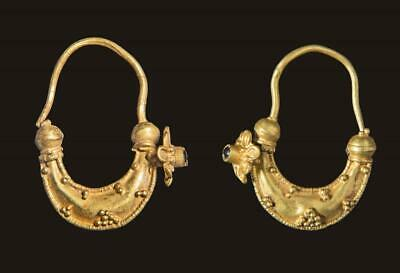 Roman set of gold and garnet earrings: Circa 3rd century AD.