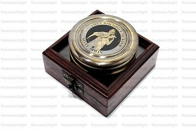 Antique Brass Crocodile COMPASS Nautical Marine Replica With Rosewood Box