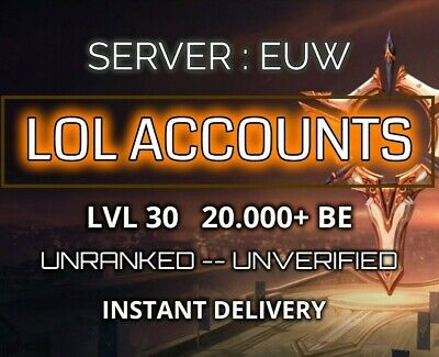 League of Legends Account EUW LoL Smurf 50000 BE Level 30 Unranked Unverified