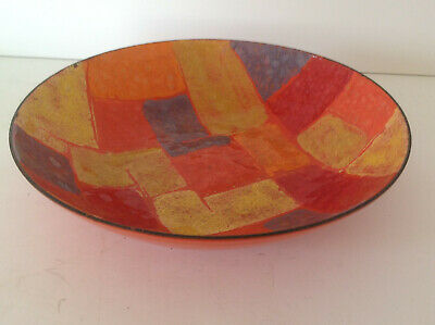 Vintage MCM Modern Enamel on Copper Bowl Dish w/ Abstract Colorful Design ~ 6.5""