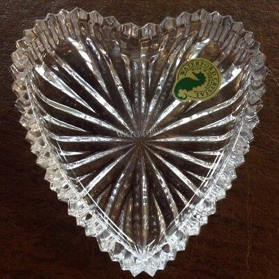 Waterford Crystal Heart Shaped Ring Dish/Jewelry Tray For Vanity~New