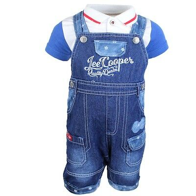 Set Baby 2 Pieces Lee Cooper Dungarees Jeans + Polo Blue