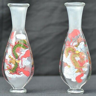 Boxed Pair Of Antique Hand Painted Chinese Bud Vases