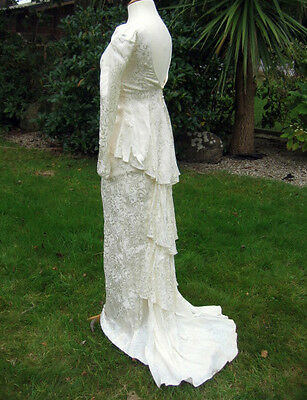 "Vintage Victorian Edwardian Design Stage Costume Wedding Dress 6  8 30"" Bust"