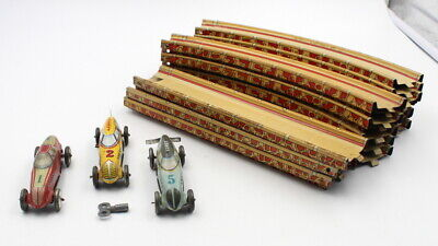 VINTAGE 1930s LOUIS MARX SINGLE TRACK SPEEDWAY WITH 3 CARS, WORKING, NR, #5373