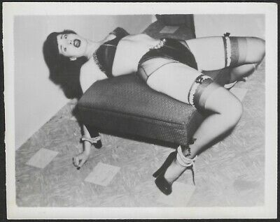 Vintage 1950s Bettie Page Fetish Restraints Frightened Risqué Pin-Up Photograph