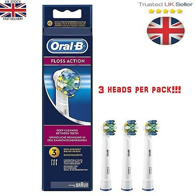 Braun Oral-B FLOSS ACTION Electric Toothbrush Replacement Brush Heads 3 Heads