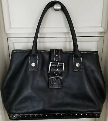 9d1da9e9860968 MICHAEL KORS Vintage Black Astor Studded Leather Satchel/Handbag/Tote XL