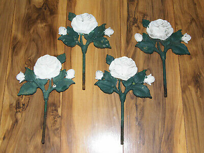 (4) Vintage Cast Iron Architectural Salvage White Roses with Stems Stakes