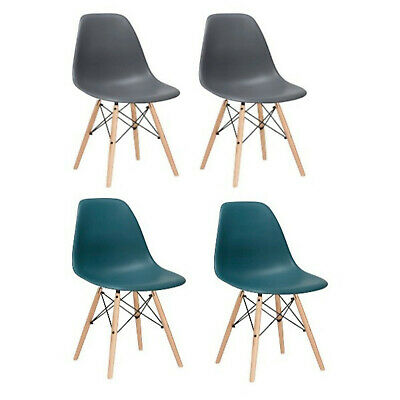 2 Gray Teal Eiffel Plastic Shell Dining Side Chairs Wood Dowel Legs Eames Style