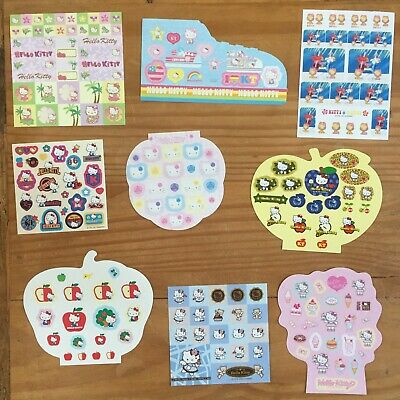 Sanrio Hello Kitty LOT OF 9 Sheets of Stickers!  All Sizes dated 2001-2004